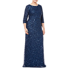 Buy Adrianna Papell Plus Size Beaded Mermaid Dress, Deep Blue Online at johnlewis.com
