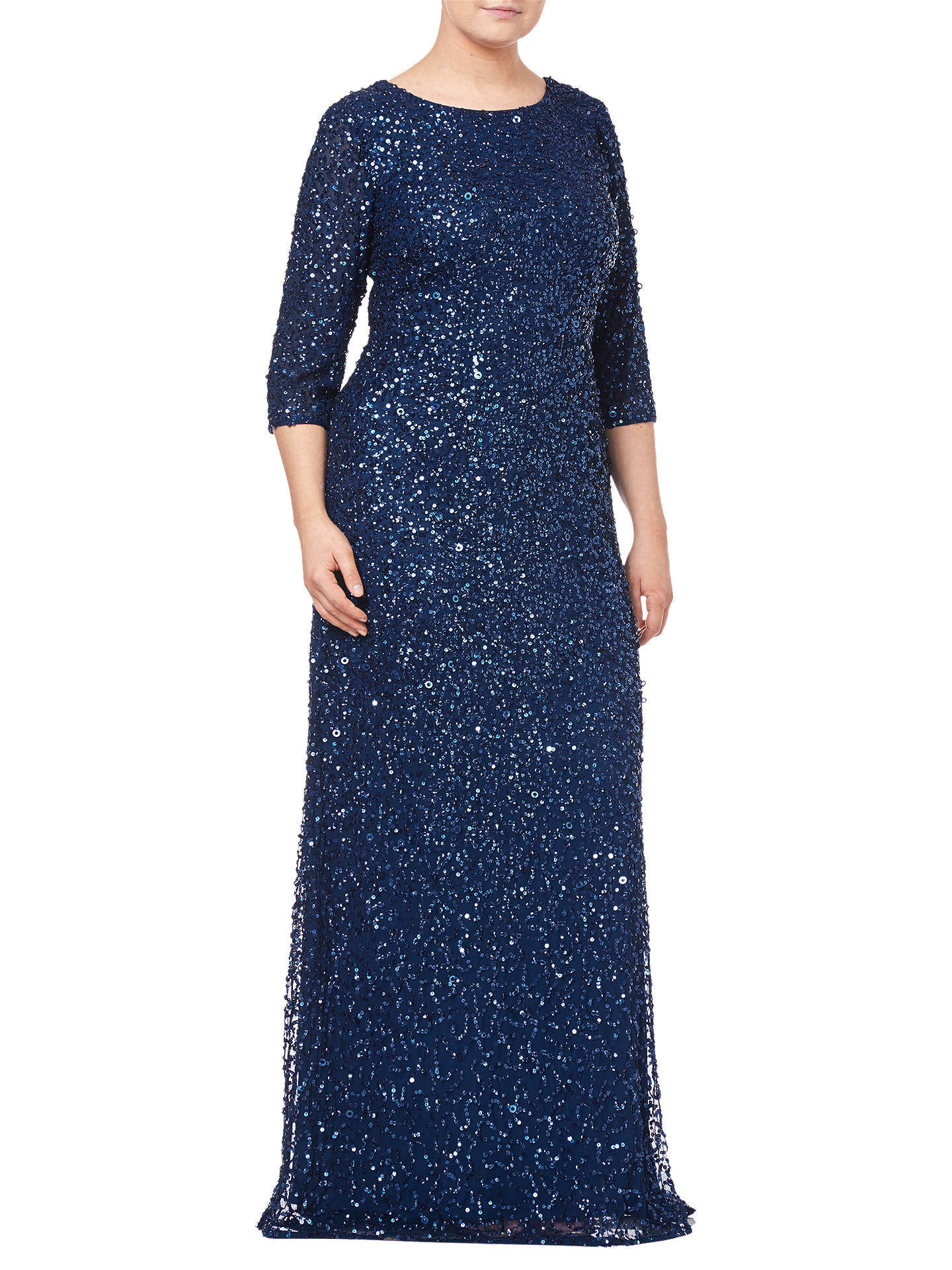 Buy Adrianna Papell Beaded Mermaid Dress, Deep Blue, 18 Online at johnlewis.com