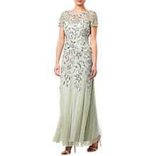 Buy Adrianna Papell Petite Floral Beaded Godet Dress, Mint Online at johnlewis.com