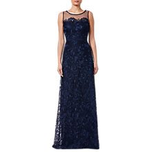 Buy Adrianna Papell Long Embroidered Dress, Deep Blue Online at johnlewis.com