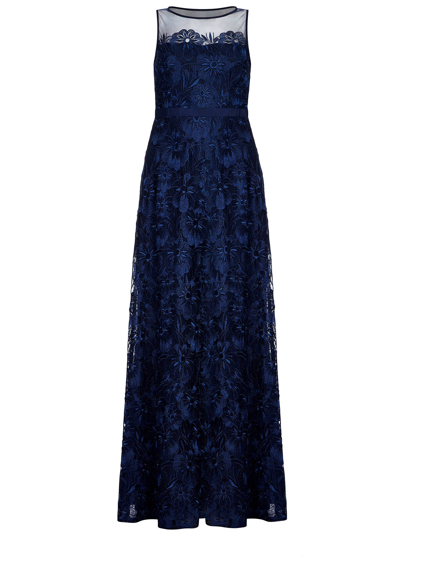 BuyAdrianna Papell Long Embroidered Dress, Deep Blue, 8 Online at johnlewis.com