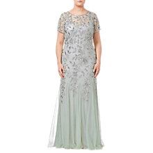 Buy Adrianna Papell Plus Size Floral Beaded Godet Dress, Mint Online at johnlewis.com