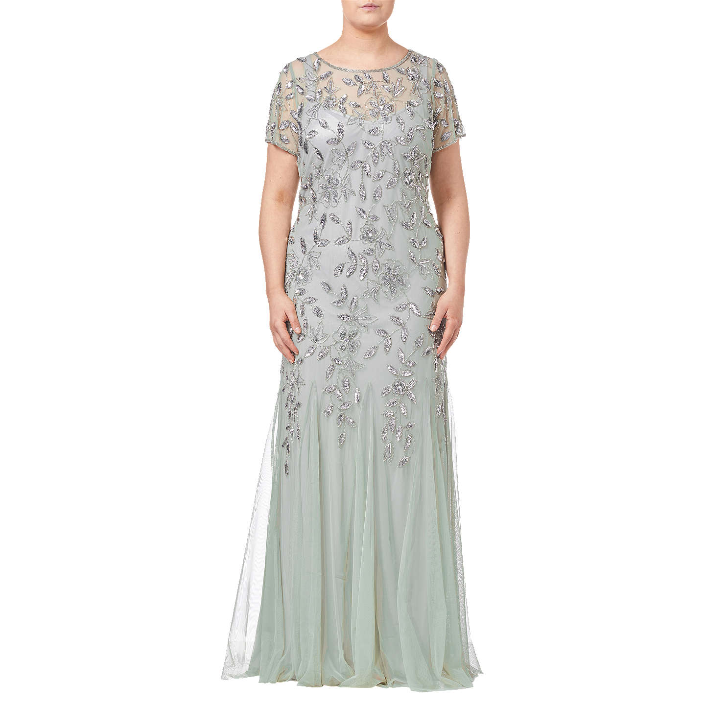 Adrianna Papell Plus Size Floral Beaded Godet Dress Mint At John Lewis