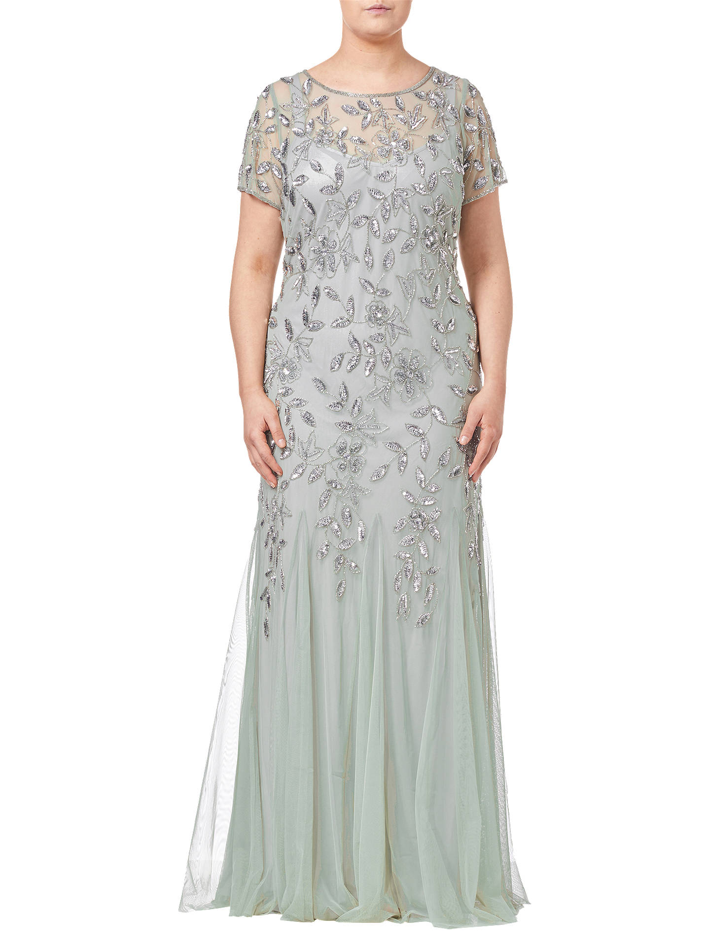 BuyAdrianna Papell Floral Beaded Godet Dress, Mint, 24 Online at johnlewis.com