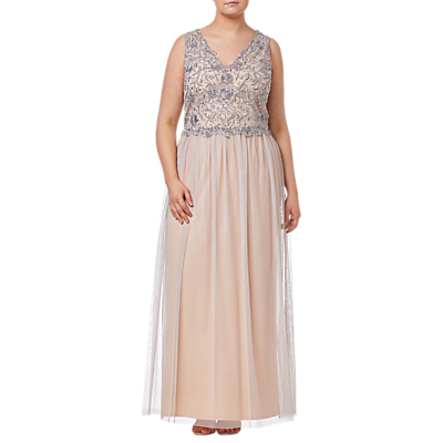 Adrianna Papell Beaded Long Dress, Silver/Nude