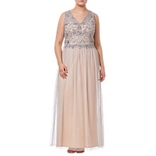 Buy Adrianna Papell Plus Size Beaded Long Dress, Silver/Nude Online at johnlewis.com