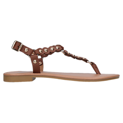 Carvela Alba Studded Toe Post Sandals, Tan