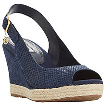 Buy Dune Klicks Wedge Heel Sandals, Navy Suede Online at johnlewis.com