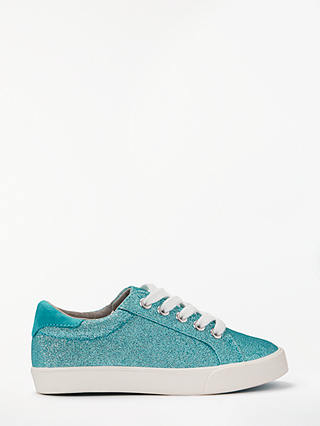 Buy John Lewis & Partners Children's Paige Lace Up Glitter Trainers, Turquoise, 10 Jnr Online at johnlewis.com