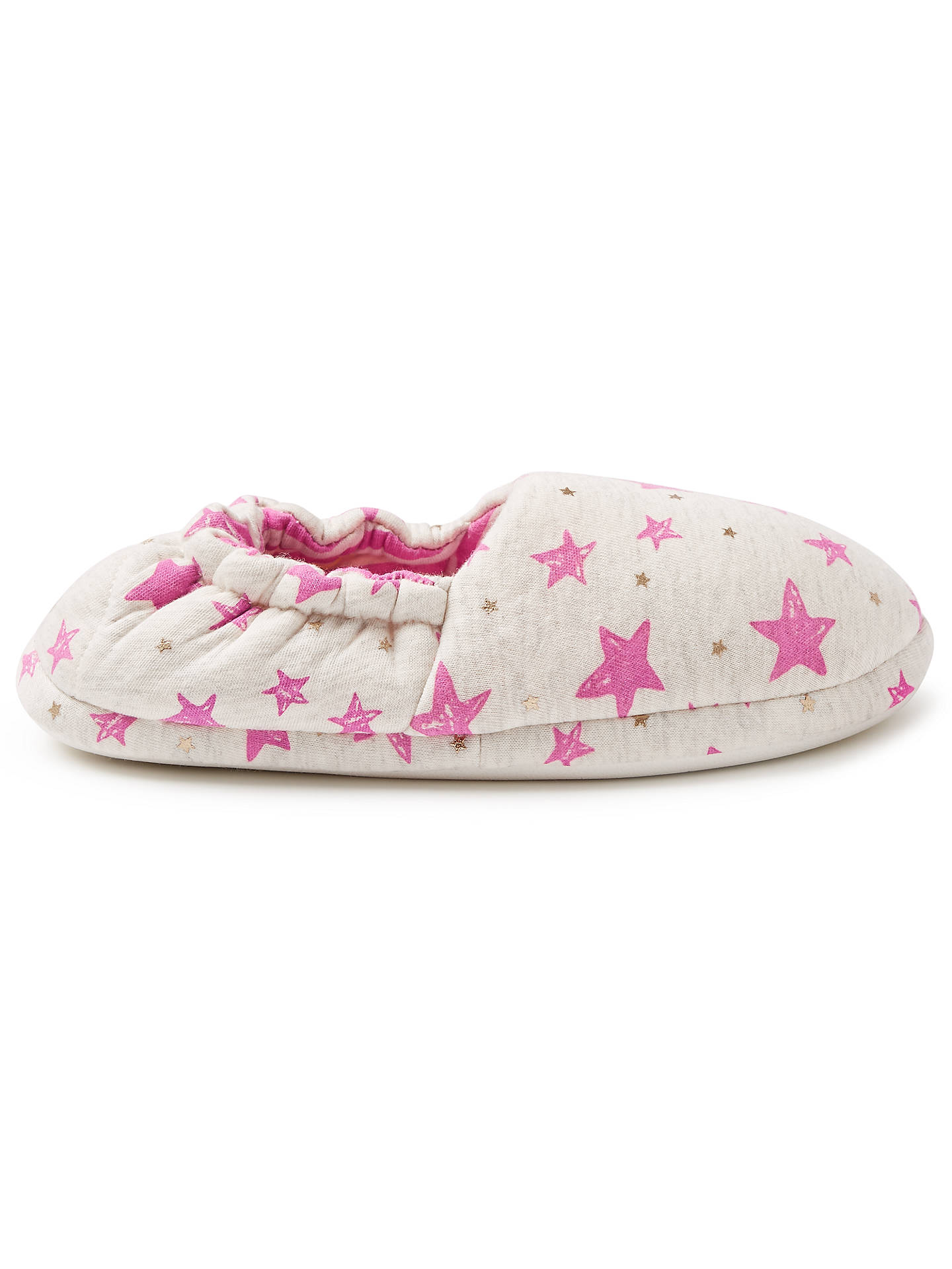 BuyJohn Lewis & Partners Children's Star Slippers, Pink/Grey, 8 Jnr Online at johnlewis.com
