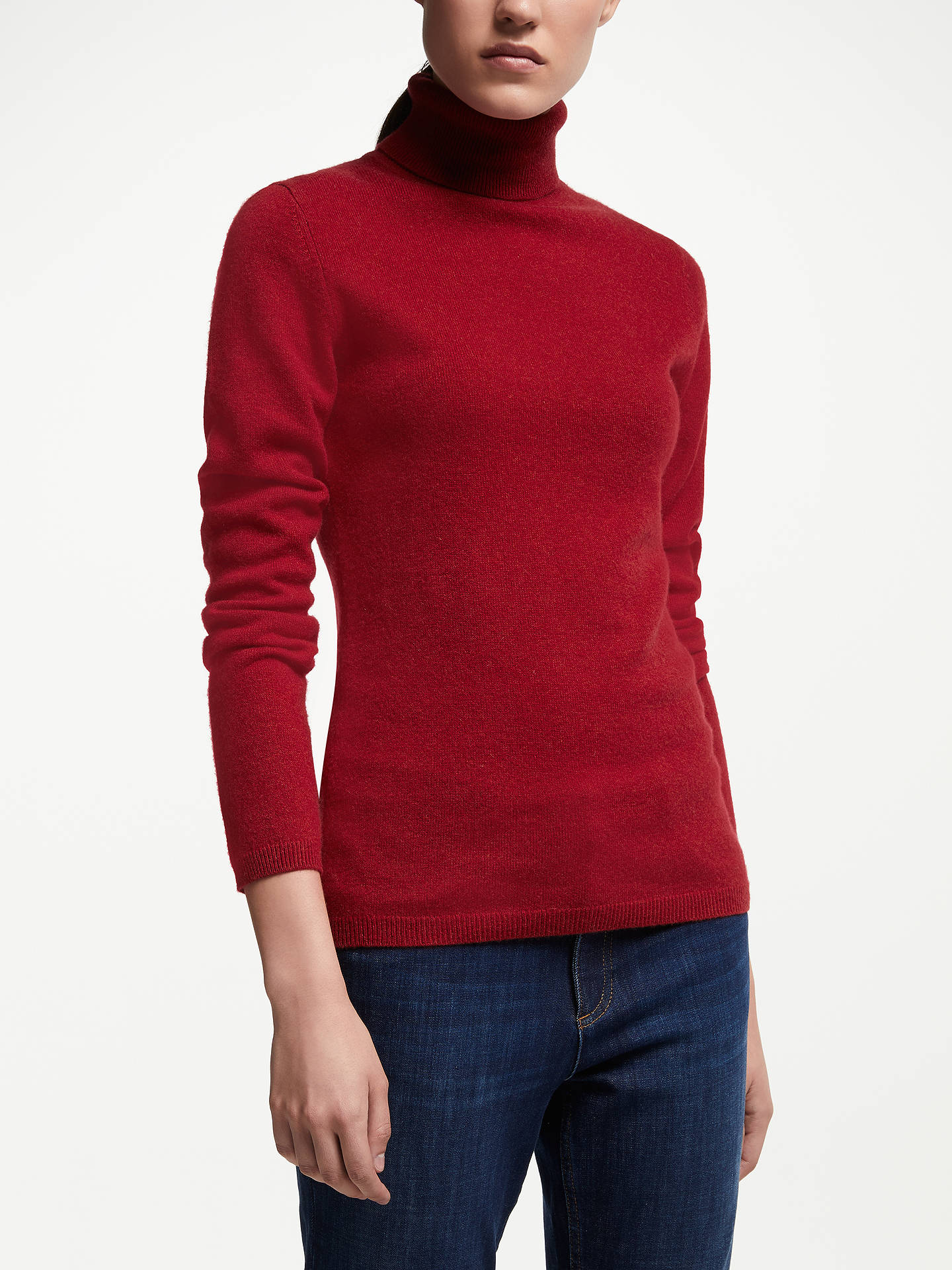 BuyJohn Lewis & Partners Cashmere Roll Neck Jumper, Red, 8 Online at johnlewis.com
