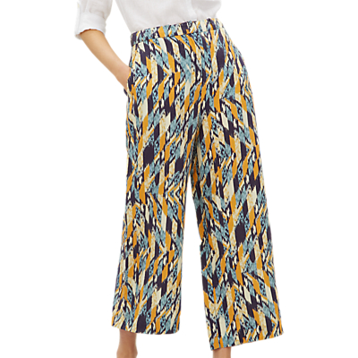 Jaeger Abstract Check Linen Trousers, Multi