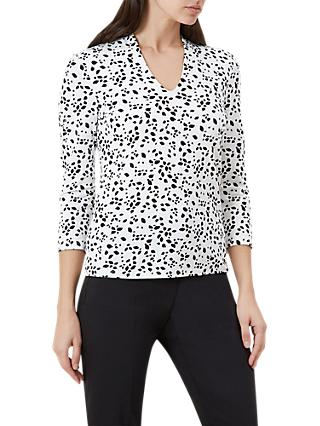 Hobbs Aimee Printed Top, Ivory/Black