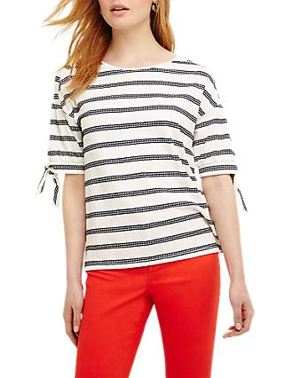 Phase Eight Scout Textured Stripe Top, Navy/White
