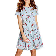 Buy Yumi Floral Pleat Skater Dress, Duck Egg Online at johnlewis.com