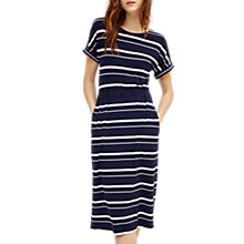 Buy Warehouse Stripe Channel Midi Dress, Blue Online at johnlewis.com