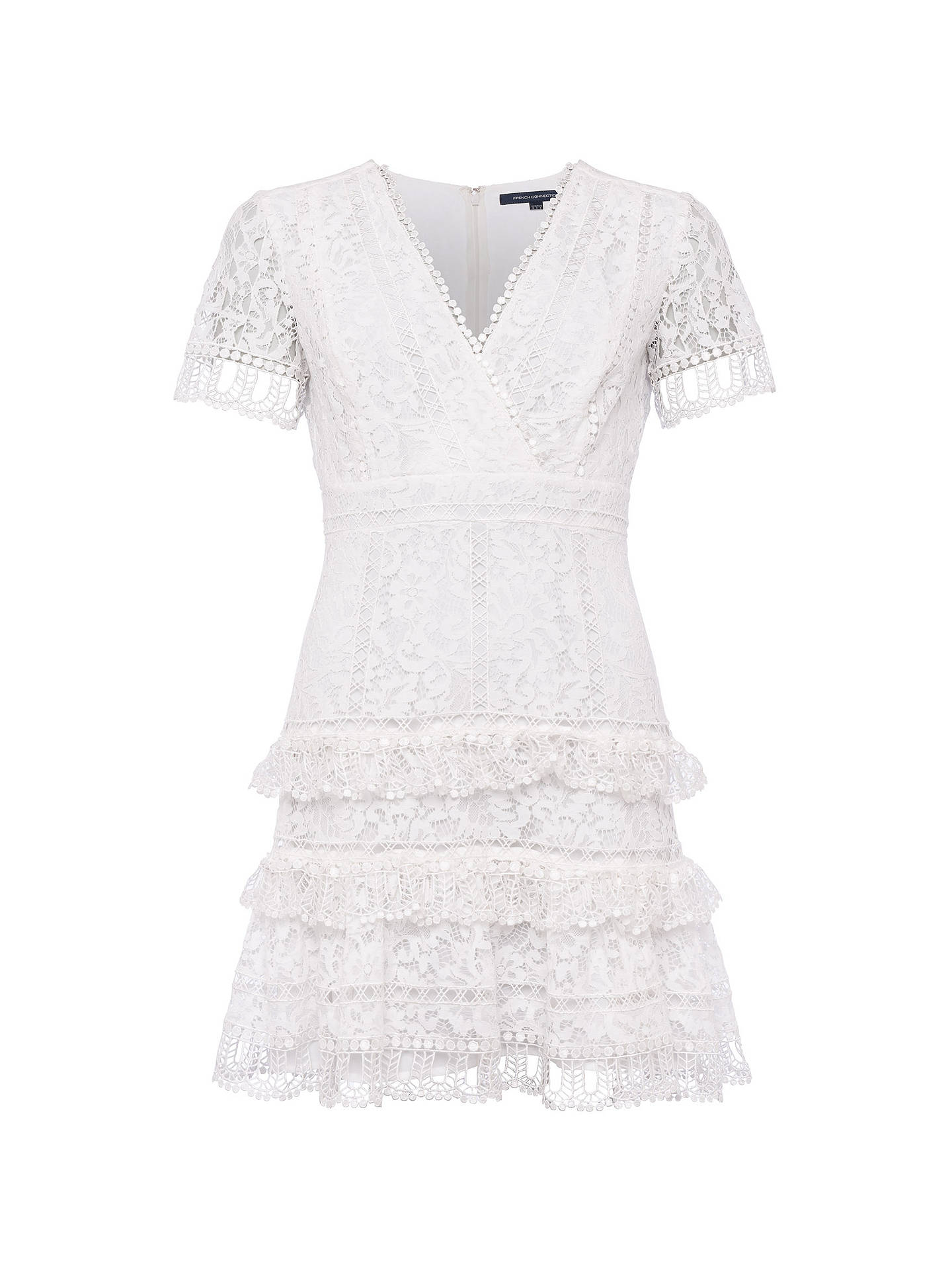 b240a26bc47 Buy French Connection Arta Lace Ruffle Dress, Linen White, 6 Online at  johnlewis.