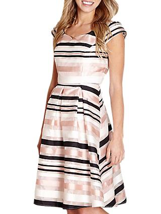Yumi Stripe Occasion Dress, Ivory