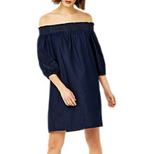 Buy Warehouse Ruched Bandeau Dress, Mid Wash Denim Online at johnlewis.com