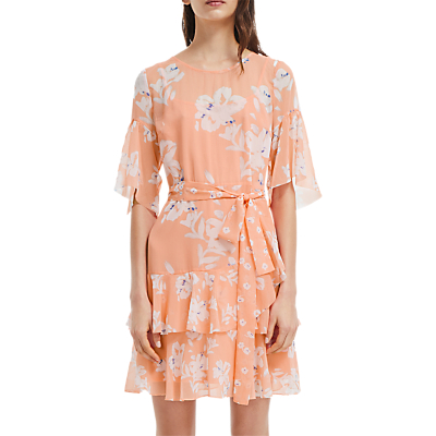 French Connection Alba Tie Waist Ruffle Dress, Peach Blossom