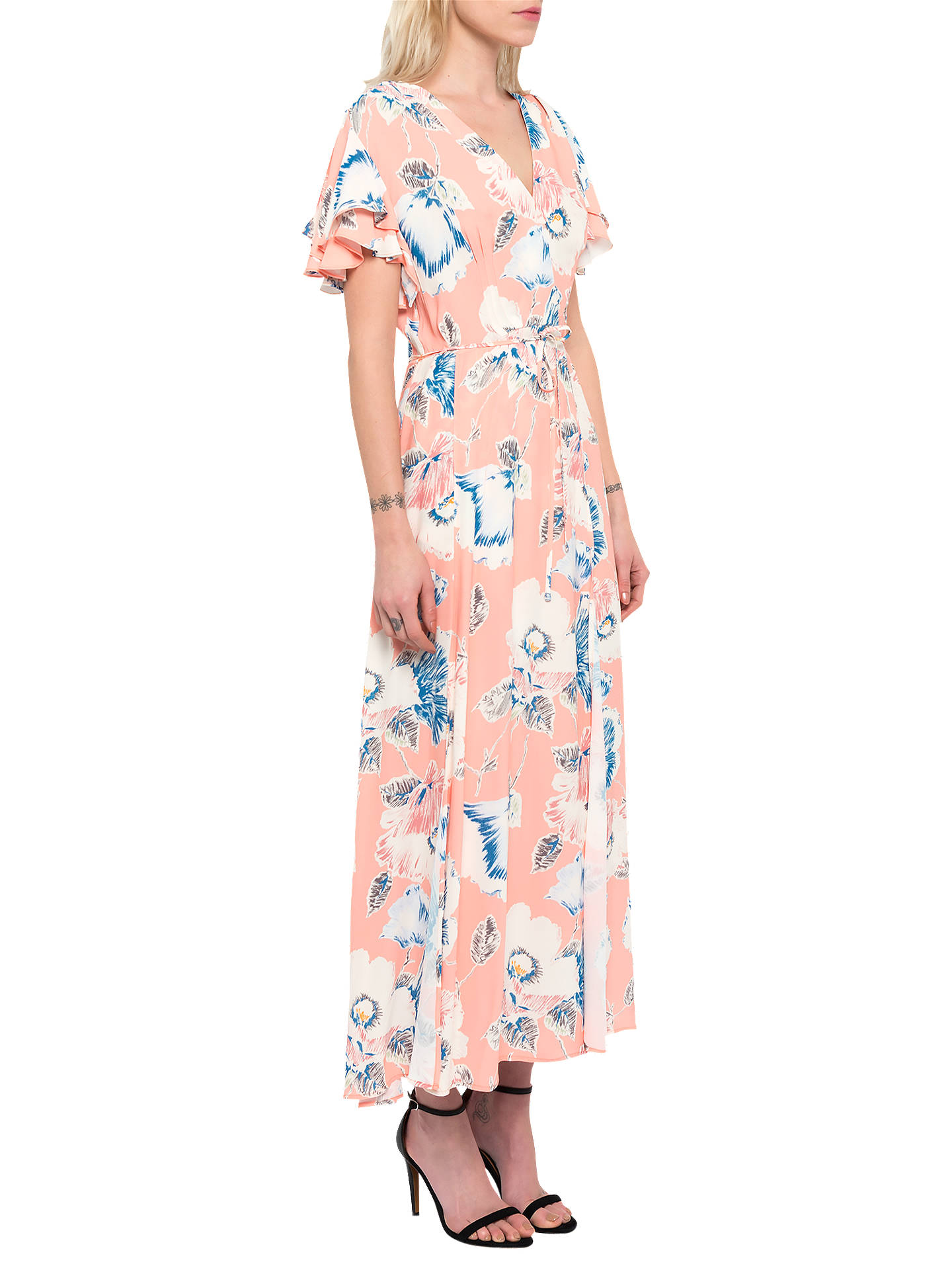 69222db8ccc ... Buy French Connection Cari Crepe Midi Tea Dress, Peach Blossom, 6  Online at johnlewis ...