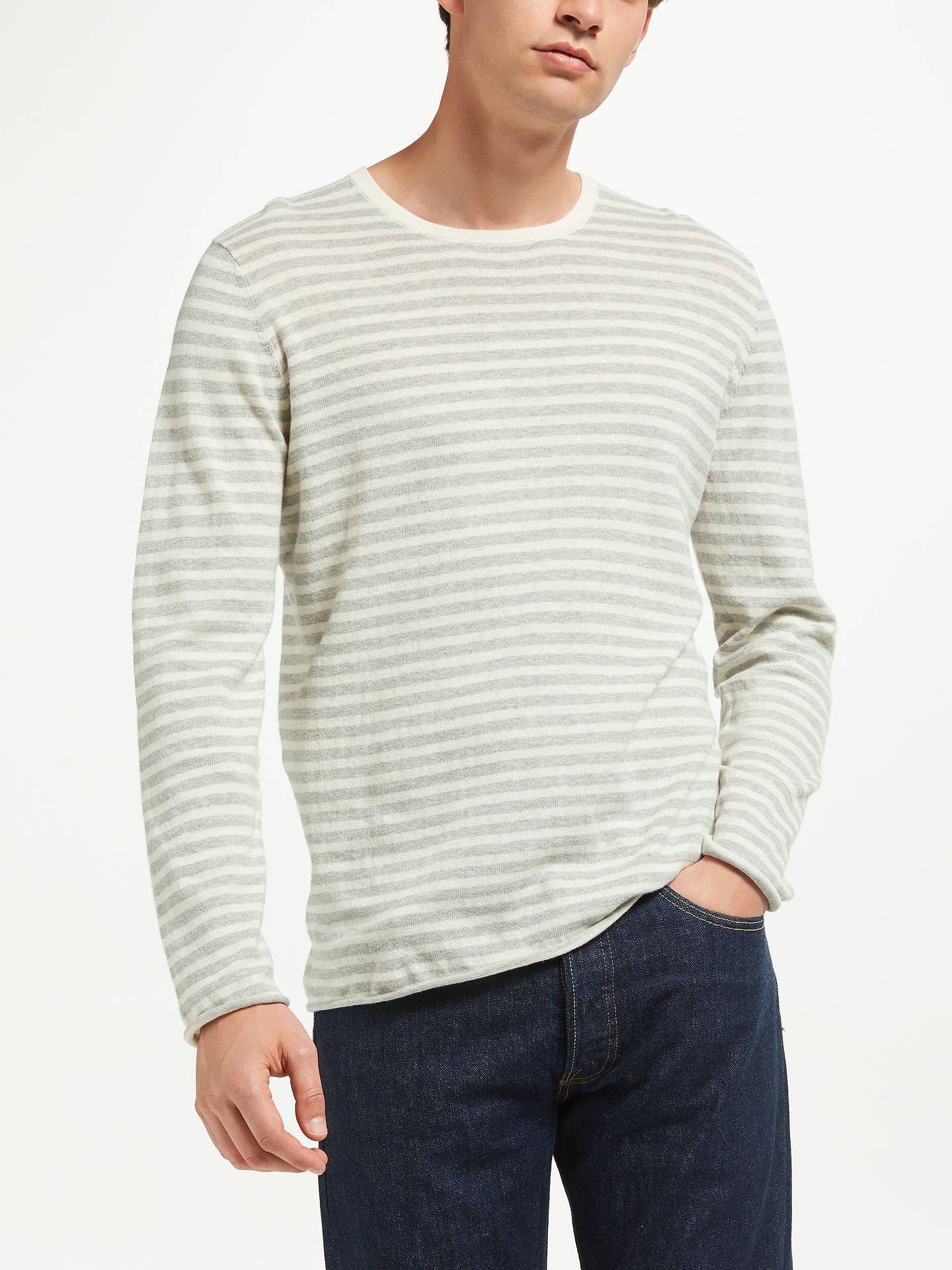 Buy Samsoe & Samsoe Ernie Long Sleeve Stripe Jumper, Grey, S Online at johnlewis.com