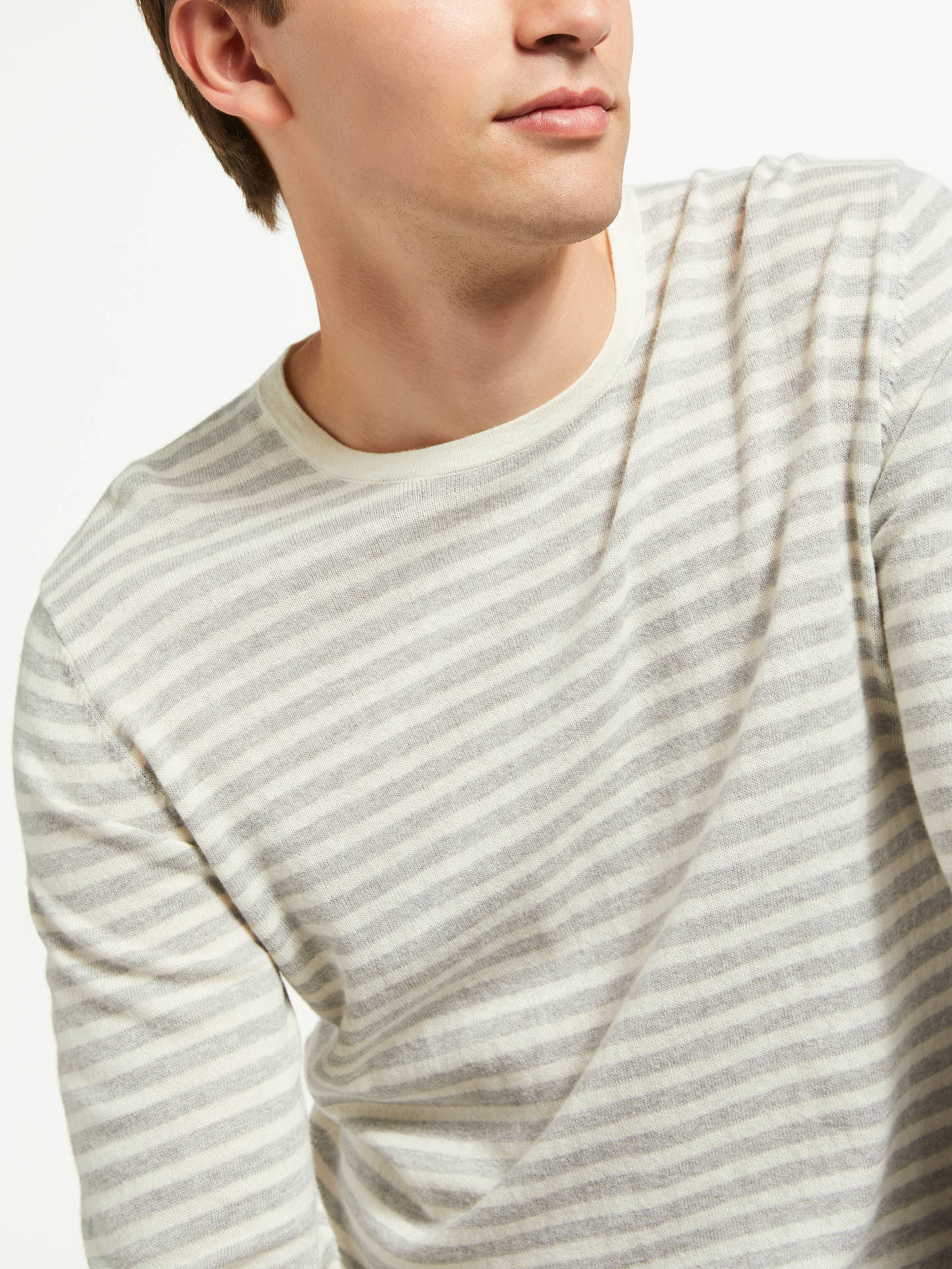 Buy Samsoe & Samsoe Ernie Long Sleeve Stripe Jumper, Grey, L Online at johnlewis.com