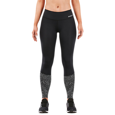 2XU Reflective Compression Mid-Rise Full Length Training Tights, Black