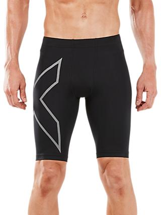 2XU Run Compression Running Shorts, Black/Silver Reflective