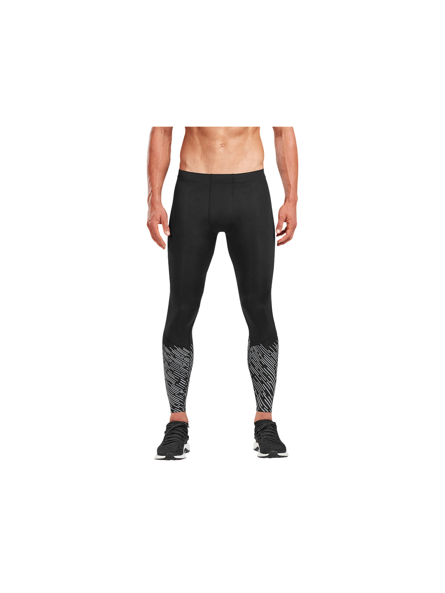 Buy2XU Run Reflect Compression Training Tights, Black/Silver Lightbeams, S Online at johnlewis.com