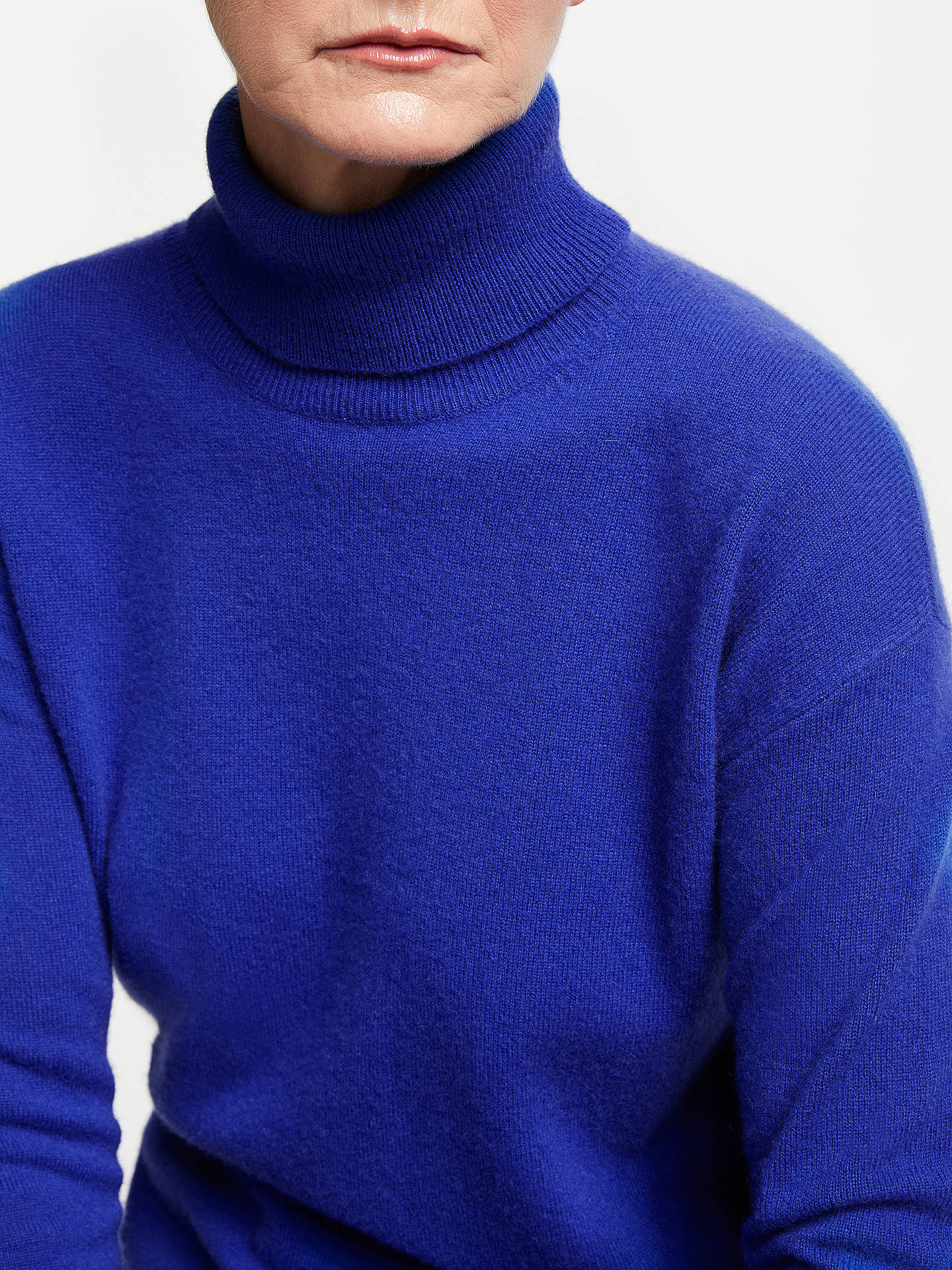 BuyJohn Lewis & Partners Cashmere Relaxed Roll Neck Sweater, Cobalt, 8 Online at johnlewis.com