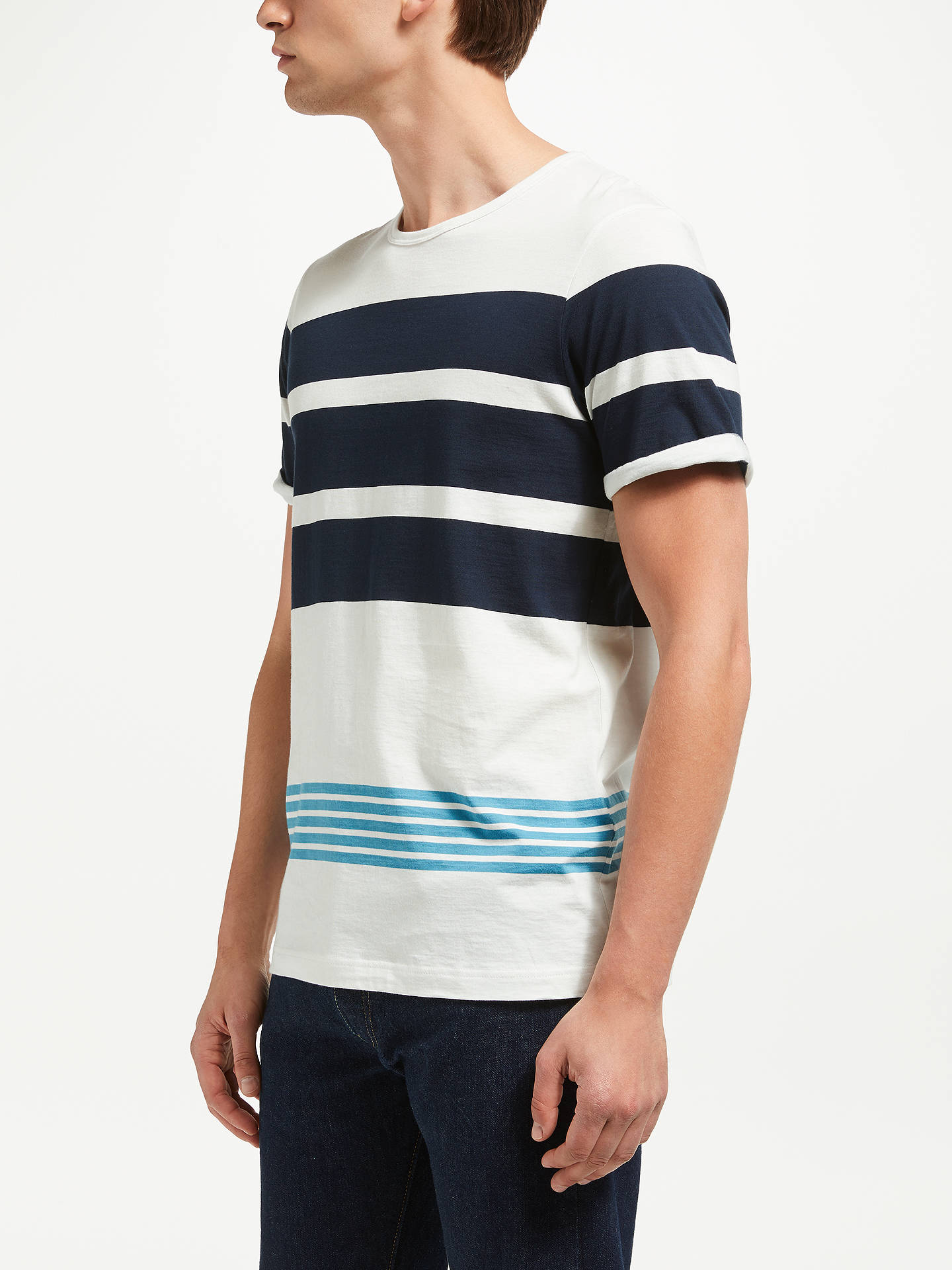 Buy Samsoe & Samsoe Phra Stripe T-Shirt, Sapphire, M Online at johnlewis.com