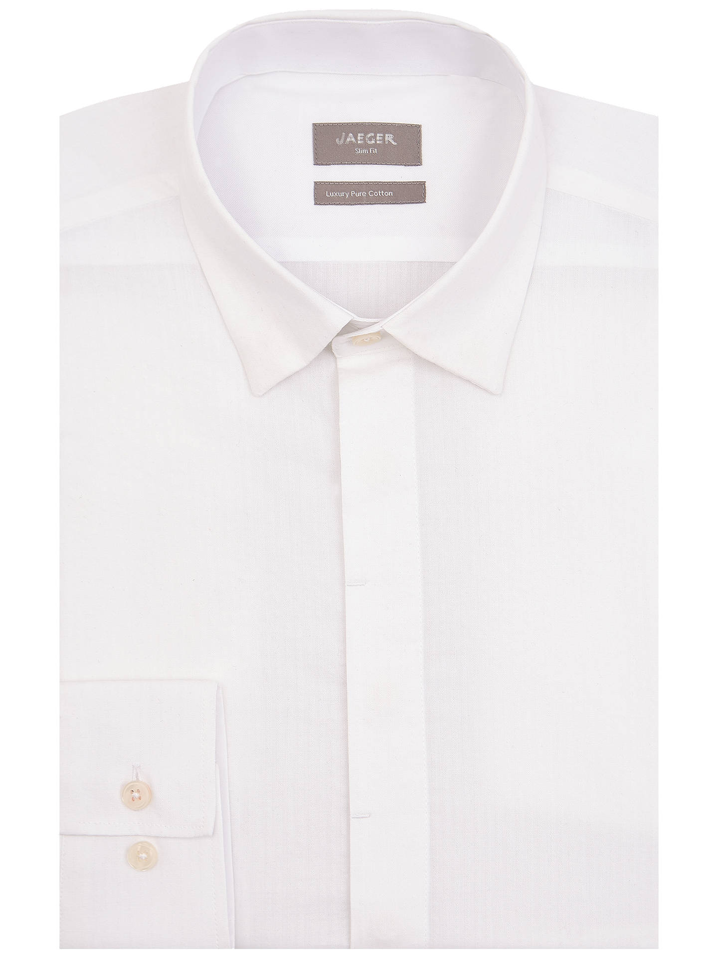 BuyJaeger Seersucker Cotton Slim Fit Shirt, White, 17.5 Online at johnlewis.com