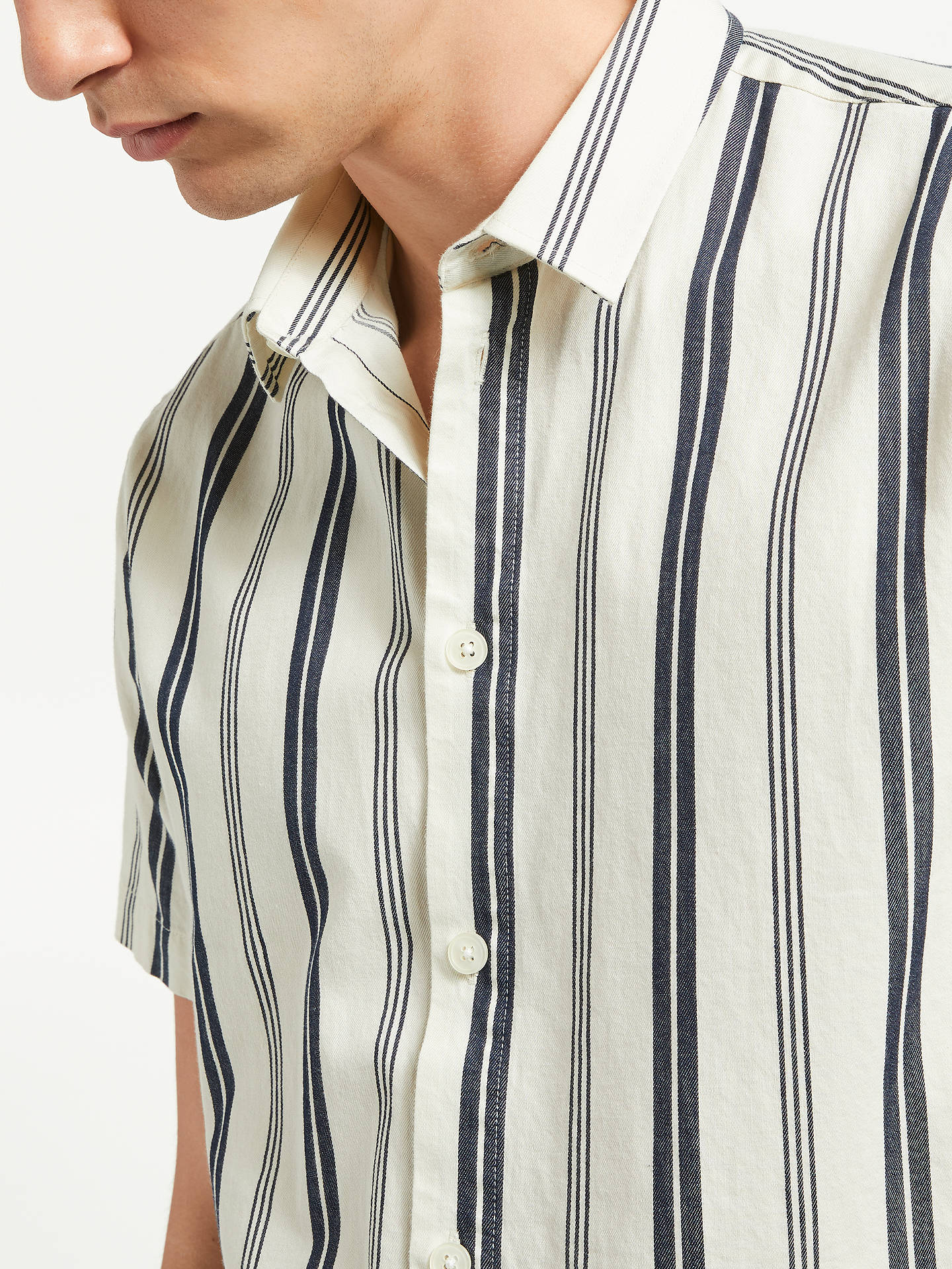 Buy Samsoe & Samsoe Vento Contrast Stripe Short Sleeve Shirt, Clear Cream, M Online at johnlewis.com