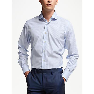Smyth & Gibson Poplin Bengal Stripe Contemporary Fit Shirt, Sky Blue