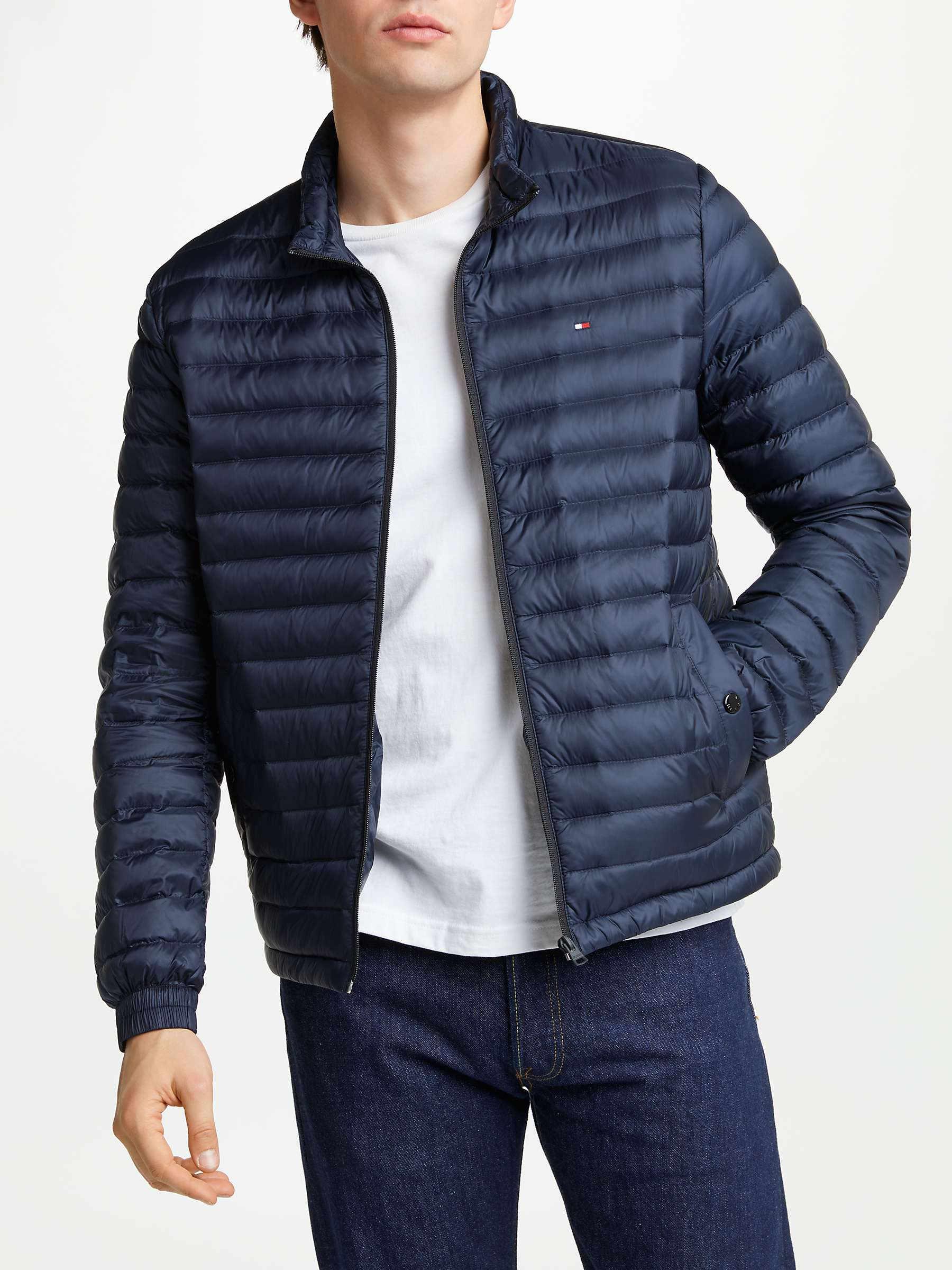 Buy Authentic luxury fashion styles Tommy Hilfiger Packable Down Bomber Jacket, Navy at John ...