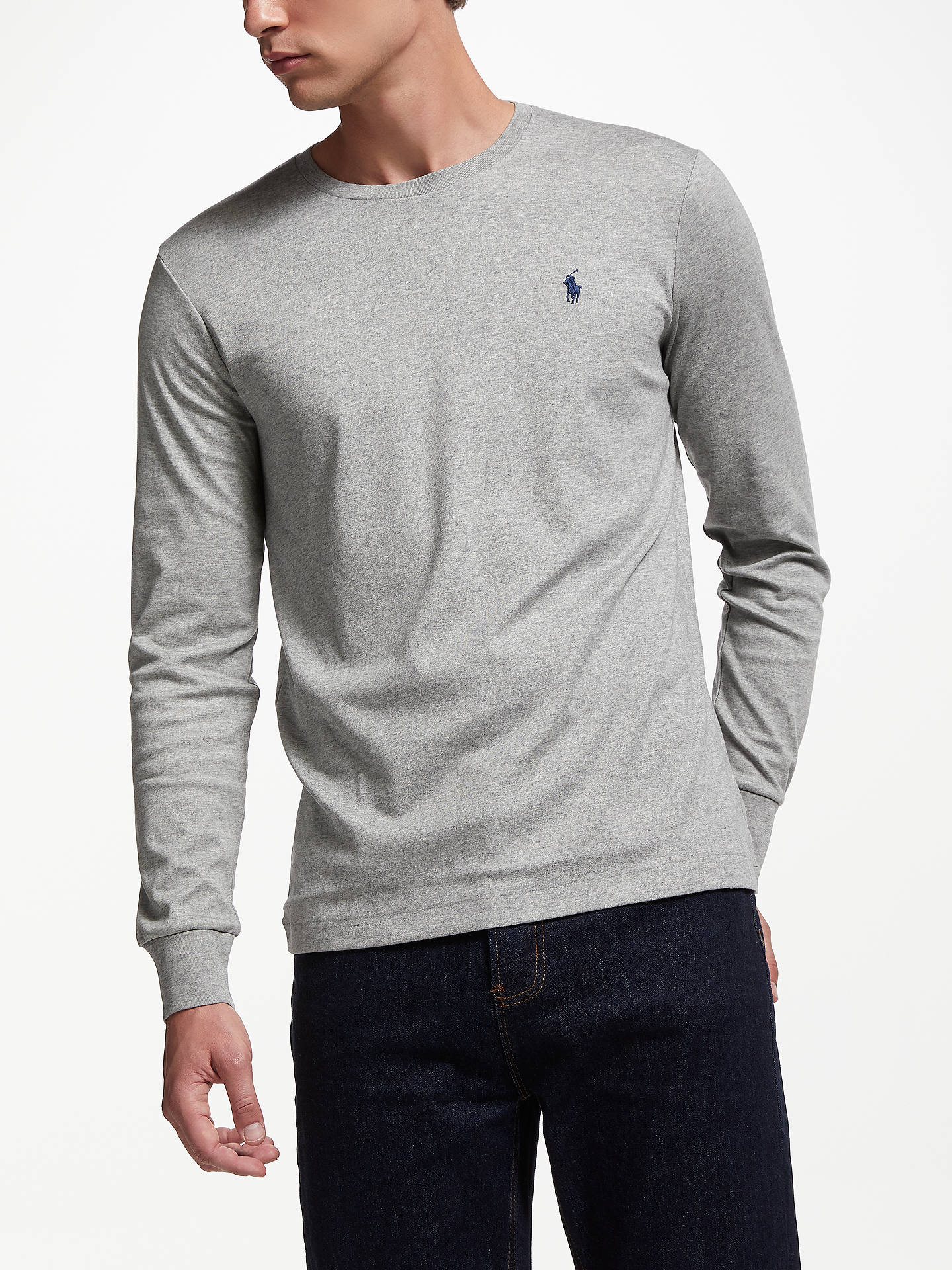Buy Polo Ralph Lauren Long Sleeve T-Shirt, Grey, XXL Online at johnlewis.com