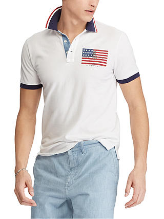 Buy Polo Ralph Lauren American Flag Custom Fit Polo Shirt, White, S Online at johnlewis.com