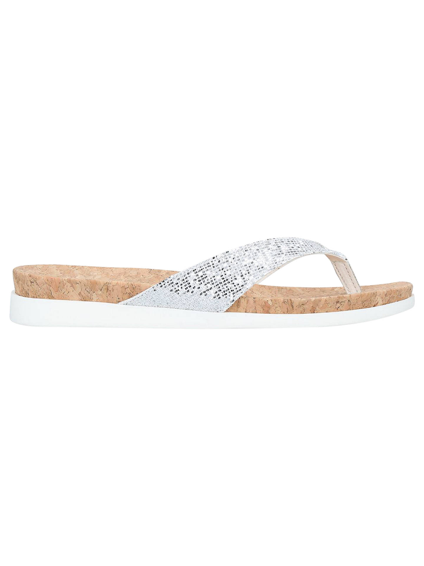 Buy Carvela Barb Glitter Slip On Sandals, Silver, 3 Online at johnlewis.com