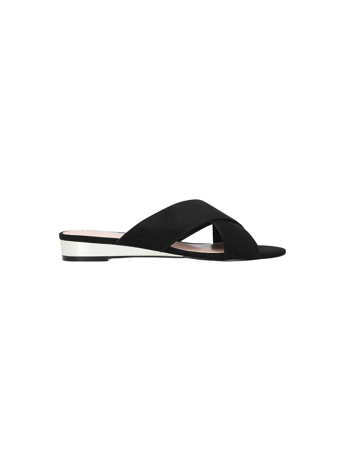 Buy Carvela Smooth Low Wedge Sandals, Black Suede, 3 Online at johnlewis.com