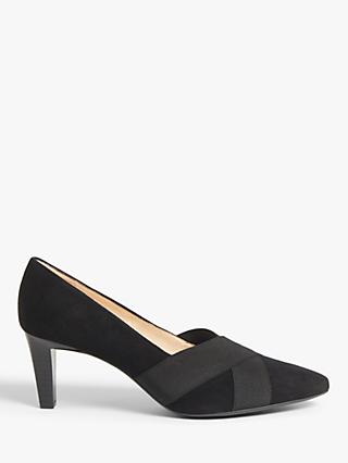 Peter Kaiser Malana Cross Strap Court Shoes, Black Suede