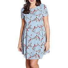 Buy Yumi Curves Floral Vine Swing Dress, Blue Online at johnlewis.com