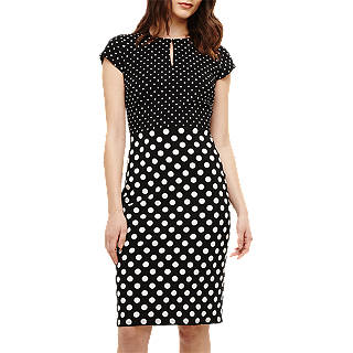 Phase Eight Kailee Spot Dress, Black/Ivory