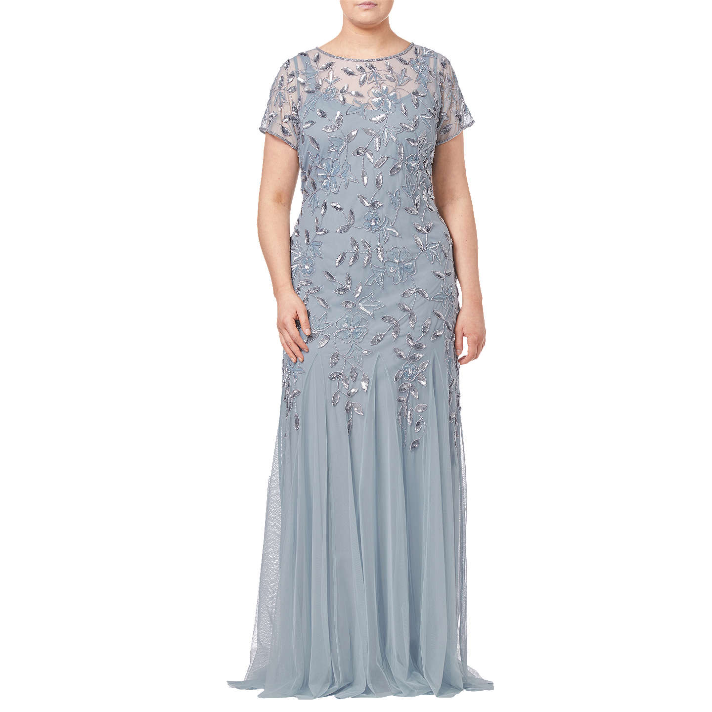 Adrianna Papell Plus Size Floral Beaded Godet Dress, Blue Heather at ...