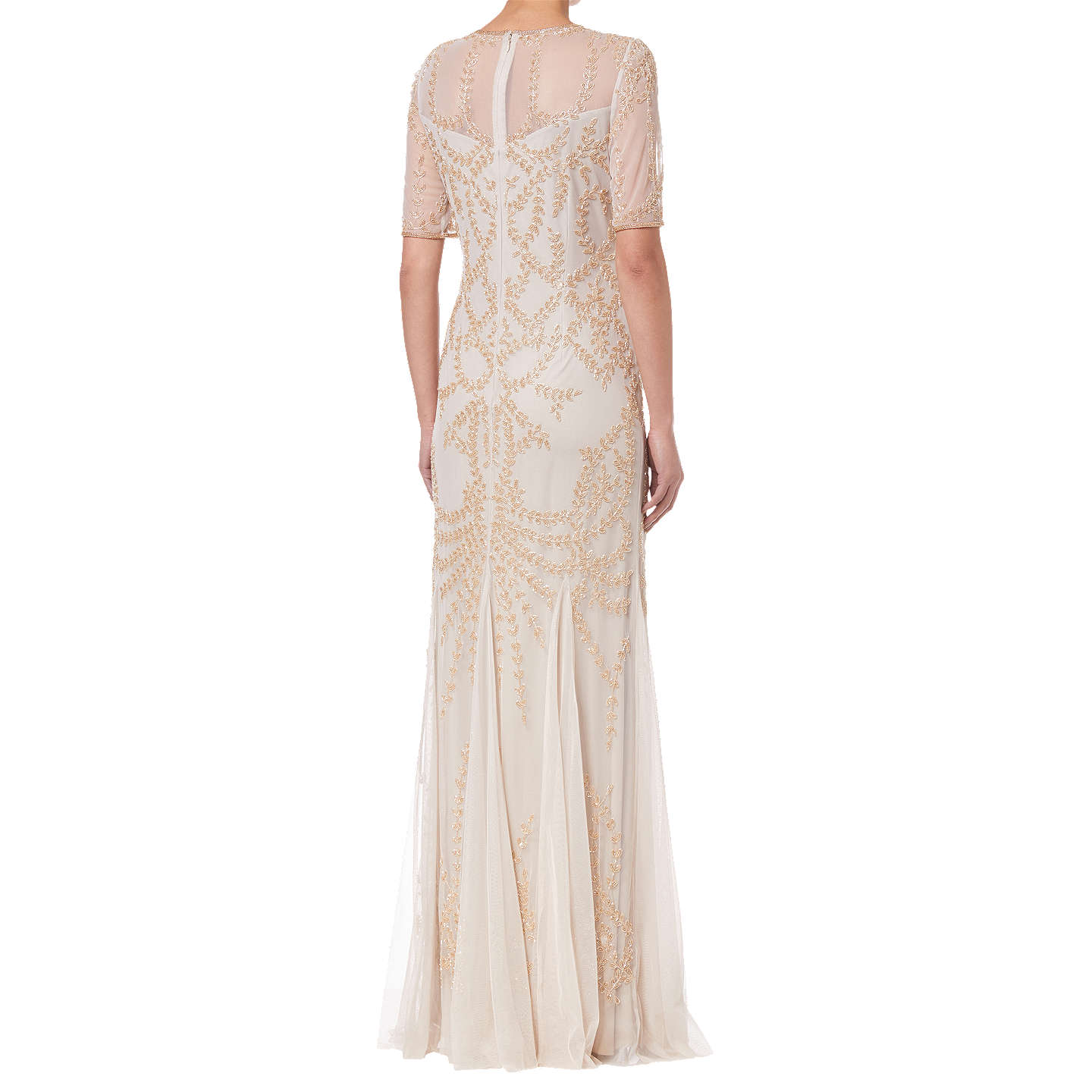 BuyAdrianna Papell Beaded Long Dress, Biscotti, 8 Online at johnlewis.com