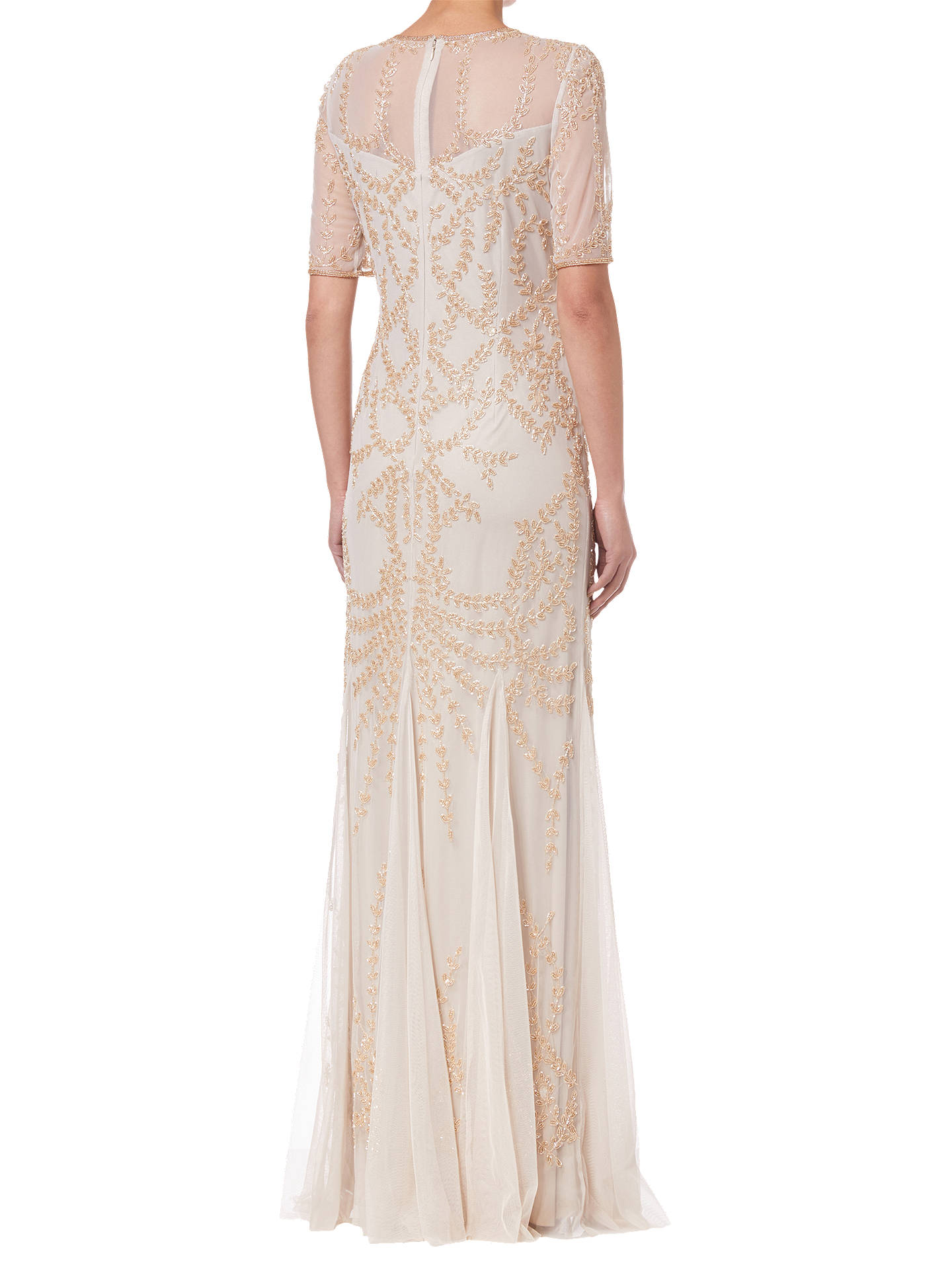 BuyAdrianna Papell Beaded Long Dress, Biscotti, Biscotti, 8 Online at johnlewis.com
