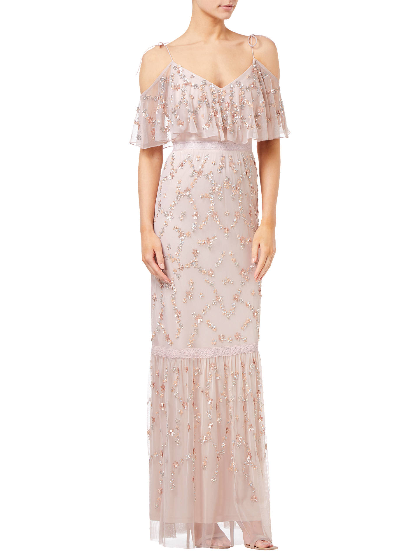 BuyAdrianna Papell Flounce Bead Mesh Dress, Pink, 8 Online at johnlewis.com