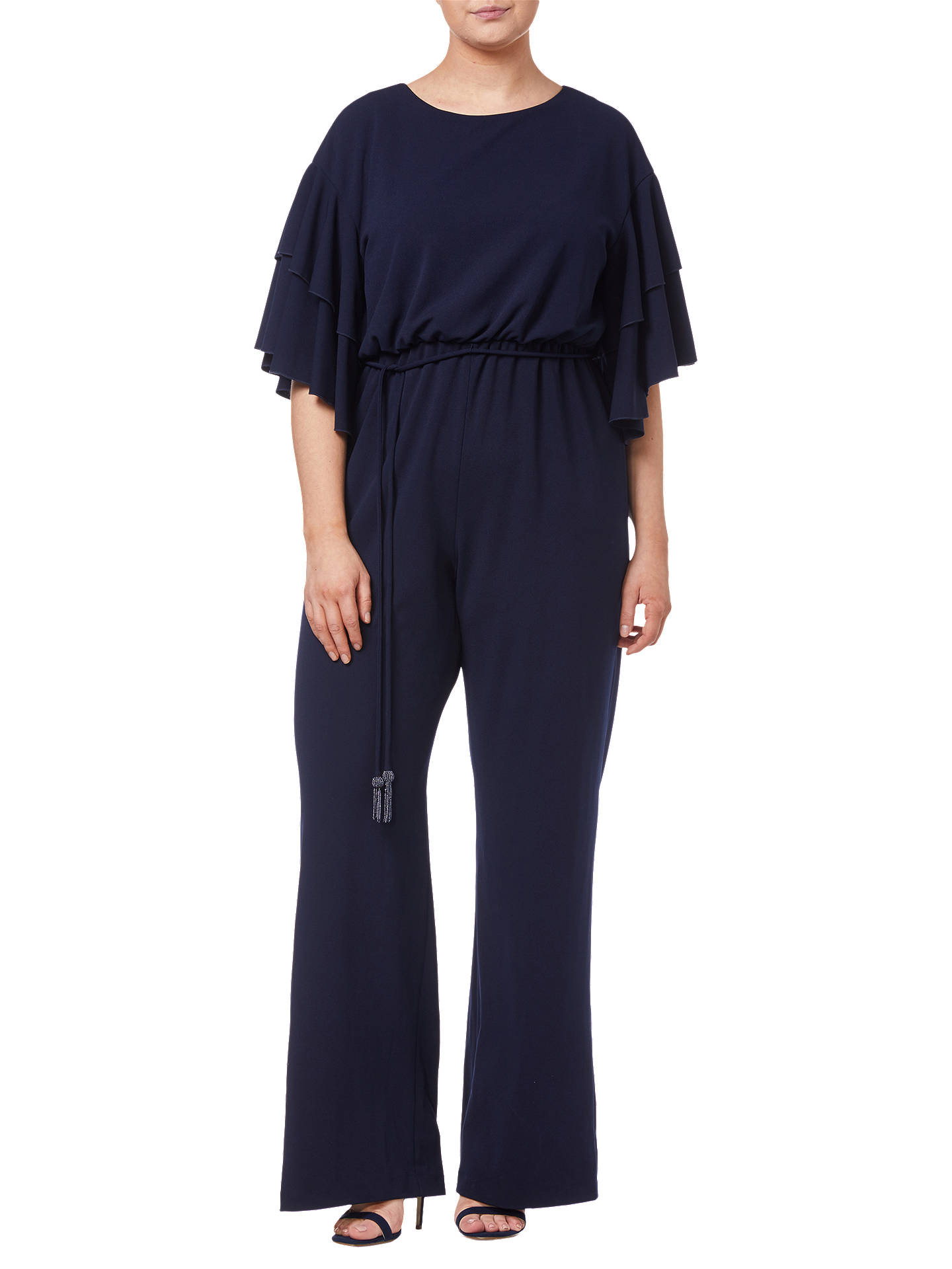 BuyAdrianna Papell Crepe Jumpsuit, Midnight, 20 Online at johnlewis.com