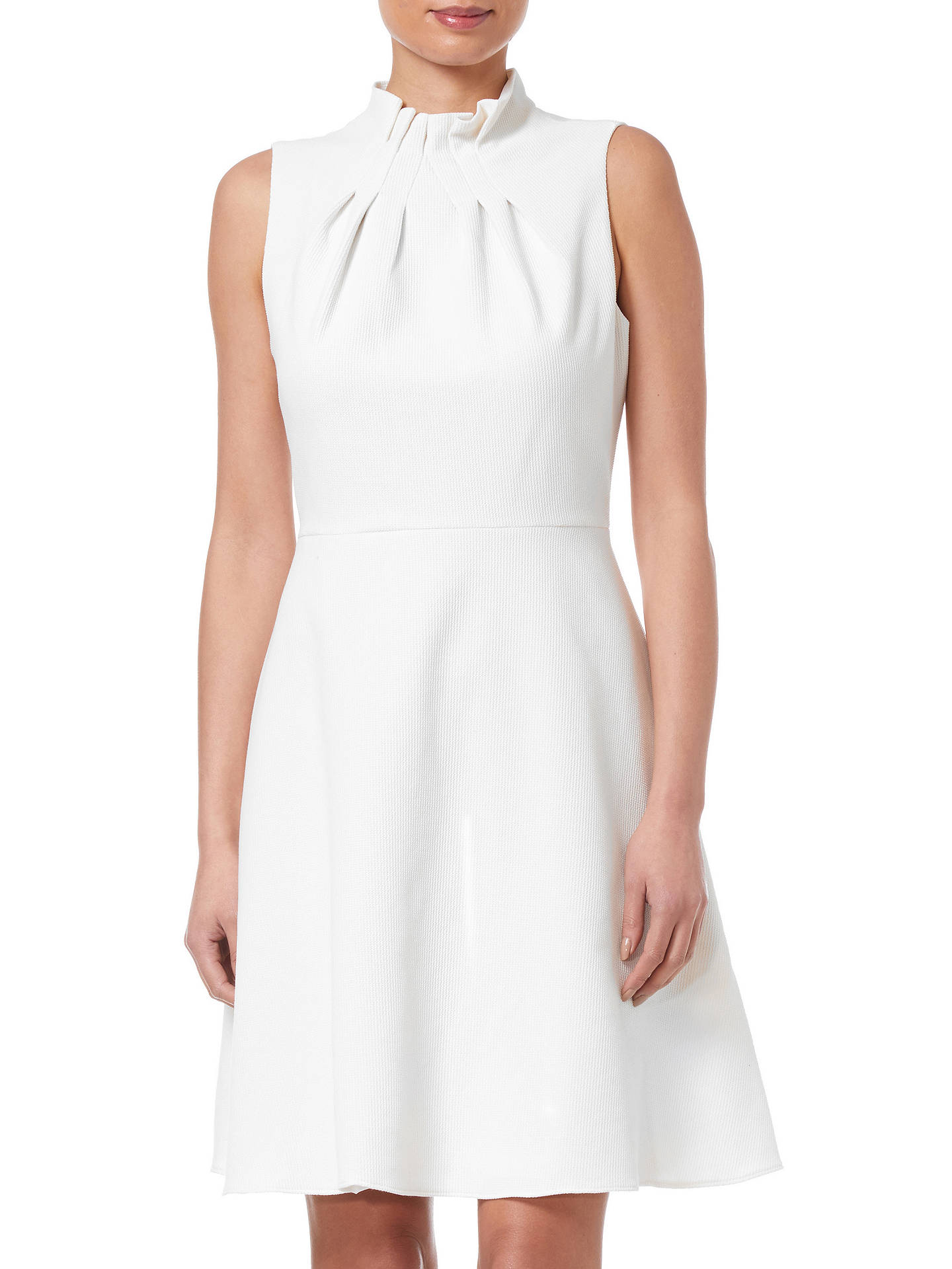BuyAdrianna Papell Ruffle Neckline Fit And Flare Dress, Ivory, 12 Online at johnlewis.com