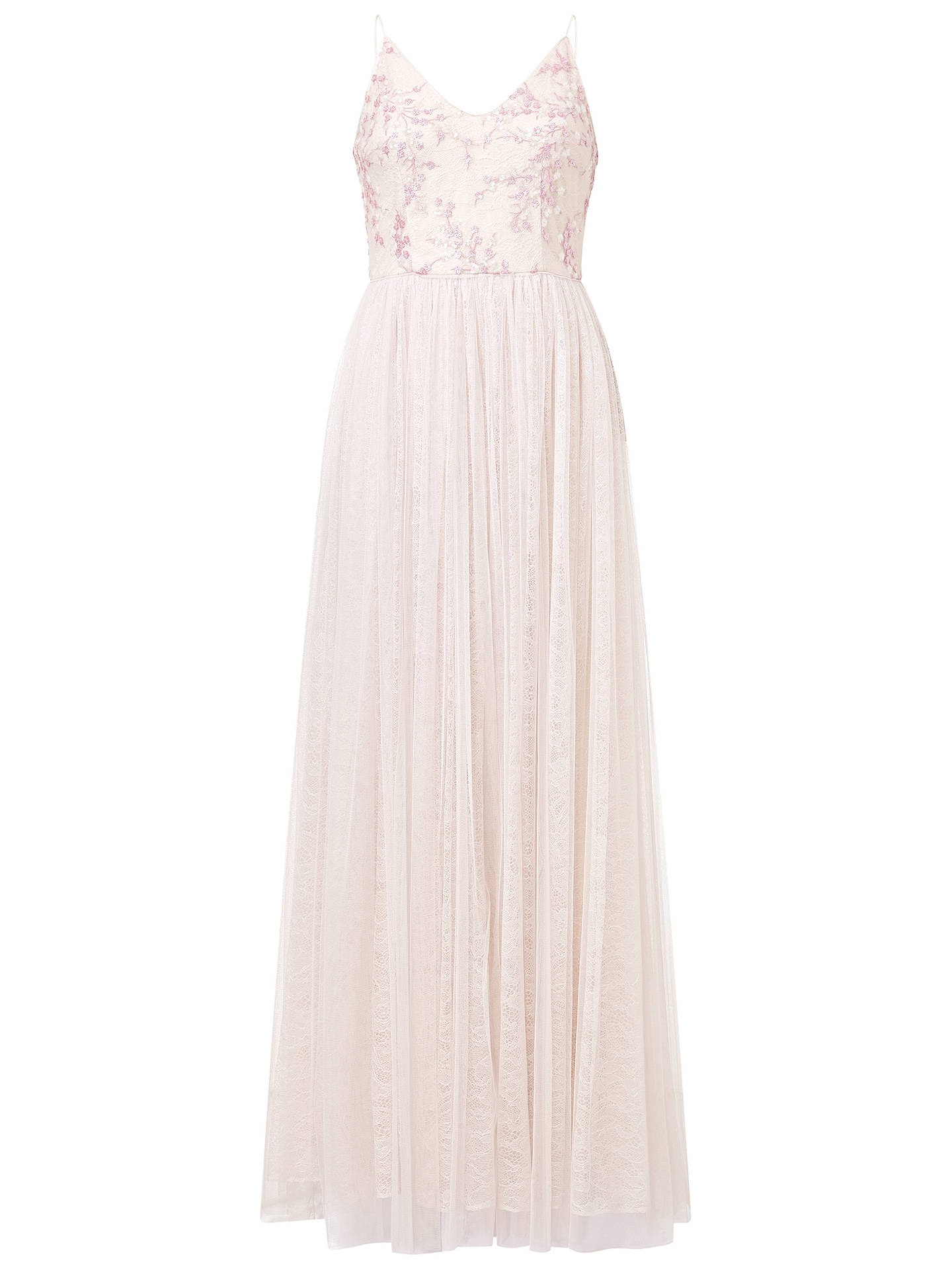 BuyAdrianna Papell Spaghetti Strap Long Dress, Pink, 14 Online at johnlewis.com